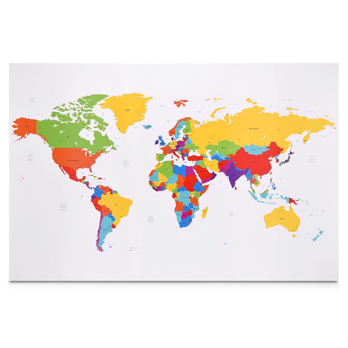 Memo Board - MDF - World Map - Colour | Müller´s Handyladen